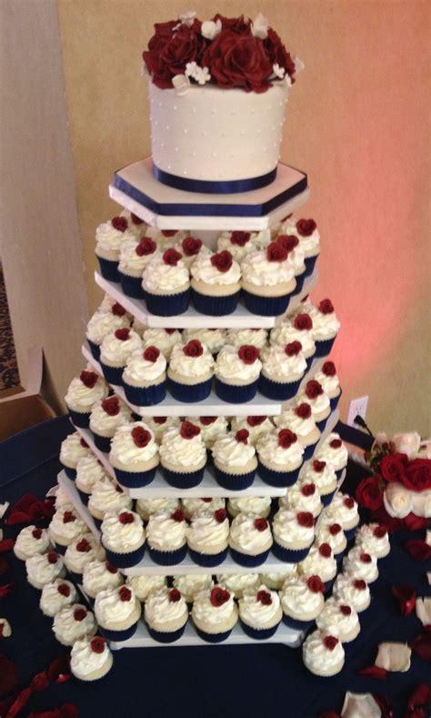 navy blue burgundy ivory cupcake tower butter cream