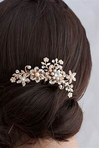 Flower Wedding Comb Rose Gold Bridal Hair By LuluSplendor