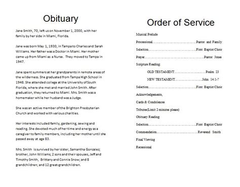 Free Downloadable Obituary Templates by The Funeral Memorial Program Free Funeral Program