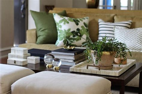 Beige and Green Living Rooms Transitional Living Room