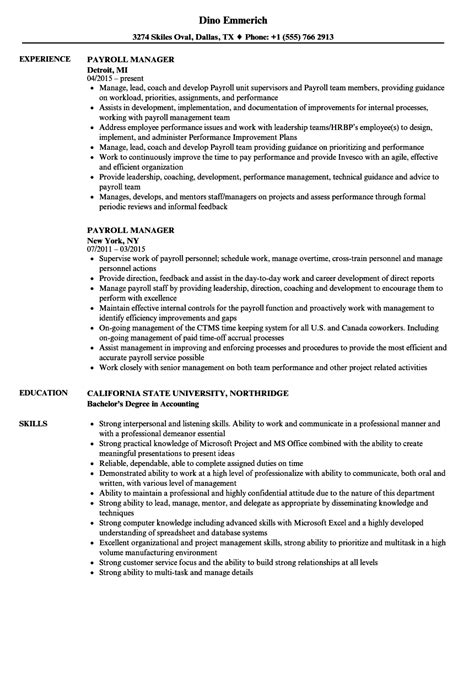 payroll manager resume samples velvet jobs