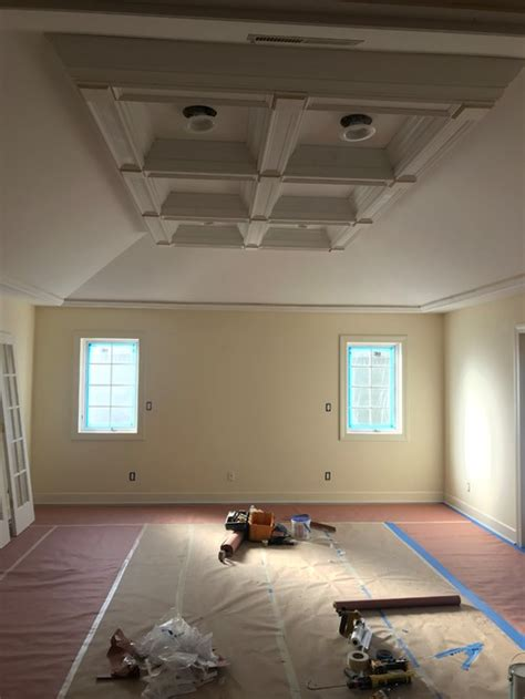 painting angled walls with coffered ceiling