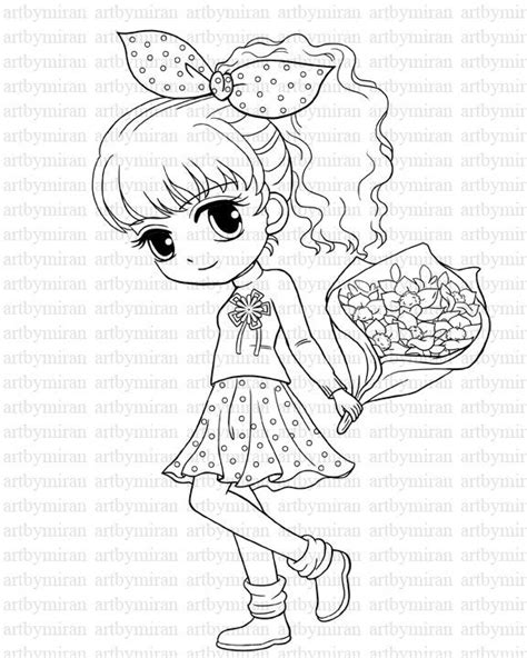 Digi Stamp Isabel's Bouquet Pretty Girl Coloring page