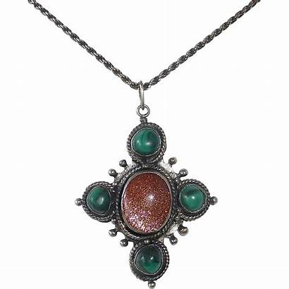 Malachite Pendant Necklace Goldstone Handcrafted Sterling