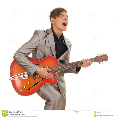 Young Man Playing On Electric Guitar Stock Image  Image 17039151