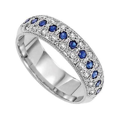cobalt blue sapphire diamond anniversary band