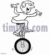 Unicycle Drawing Timtim Bw Sports Drawings Clipart Coloring sketch template