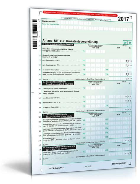 anlage ur zur umsatzsteuererklaerung  formular zum