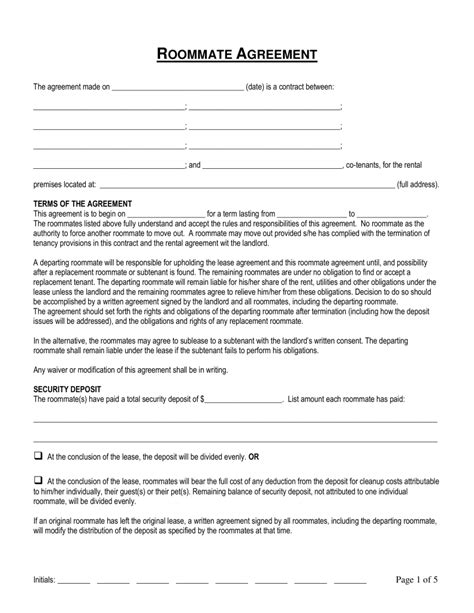 roommate agreement template free connecticut roommate room rental agreement form word pdf eforms free fillable forms