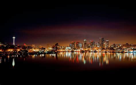 Lake, Reflection, Night, Cityscape, Seattle Wallpapers Hd