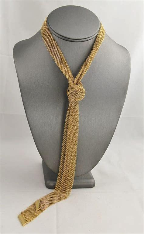 vintage retro jewelry gold chain mesh lariat scarf