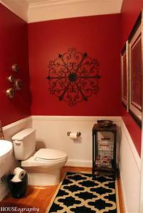 Sherwin williams red bay 6321 paint colors tips for Black white and red bathroom decorating ideas