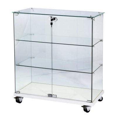 vitrine 80x40x90cm verre tremp 233 2 tablettes top verre socle blanc serrure vitrines
