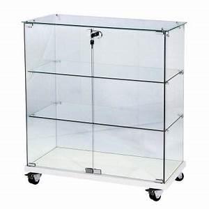 Presentoir Livre Ikea : vitrine 80x40x90cm verre tremp 2 tablettes top verre socle blanc serrure vitrines d ~ Teatrodelosmanantiales.com Idées de Décoration