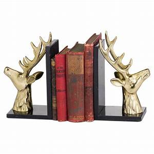 Brass, Stag, Marble, Bookends