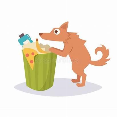 Stray Dog Cartoon Rummaging Sad Trash Puppy