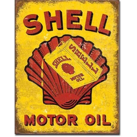 plaque metal shell oil  vieille publicite