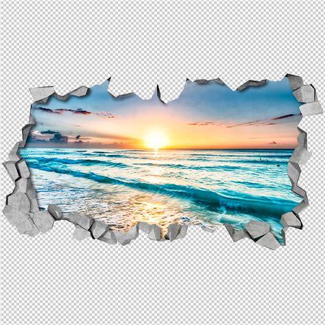 stickers pour bureau plage vue mural 3d moonwallstickers com