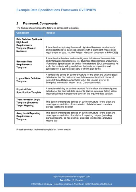 high level requirements template exle data specifications and info requirements framework overview