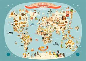 Affiche Carte Du Monde : affiche carte du monde illustration pour enfants de julie ~ Dailycaller-alerts.com Idées de Décoration