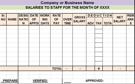 salary sheet report template  report templates