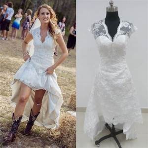 hot sale cheap vintage high low wedding dress v neck With high low vintage wedding dresses