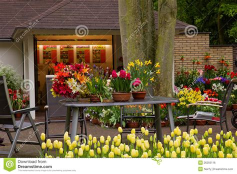flower shop in keukenhof garden royalty free stock image