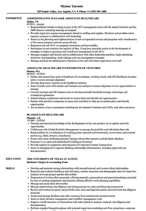 Exle Of Healthcare Resume by Associate Healthcare Resume Sles Velvet