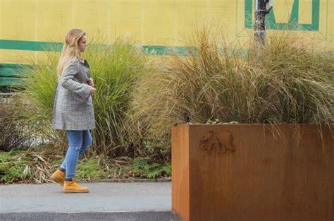 corten steel planters  colchester town centre iota