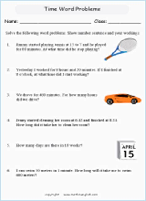 time word problems printable grade  math worksheet