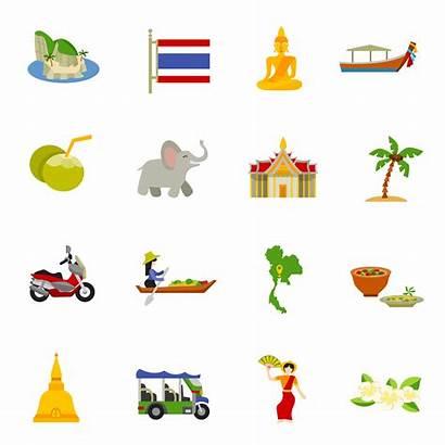 Thailand Vector Icons Illustration Flat Vectors Boats