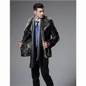 Manteau Homme Avec Fourrure : manteau simili cuir homme fourrure int rieure col large ~ Melissatoandfro.com Idées de Décoration