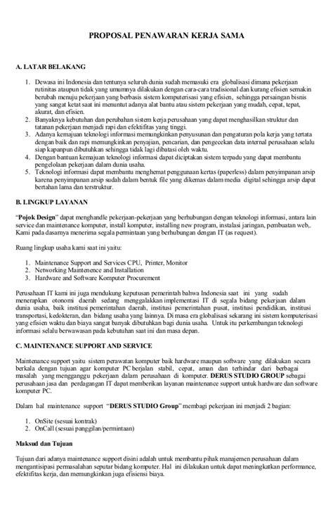 Contoh Surat Penawaran Penjualan Komputer by Penawaran Kerjasama