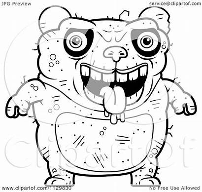 Ugly Panda Coloring Cartoon Outlined Clipart Drooling