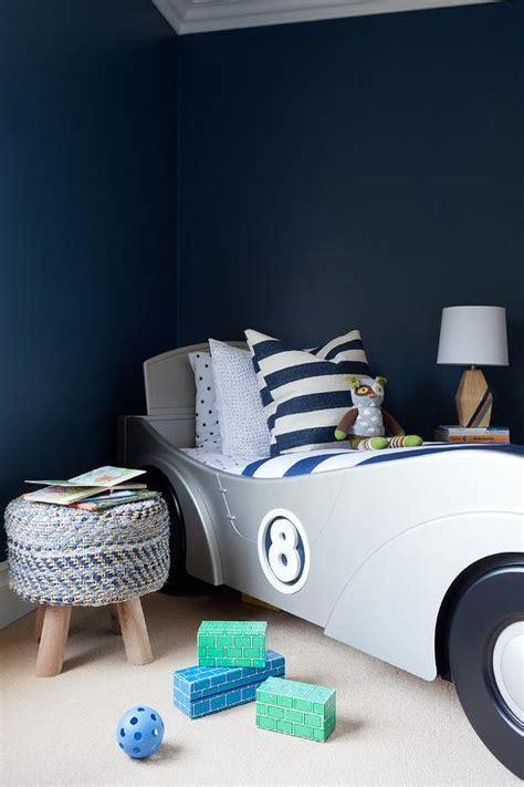 navy blue boy bedroom  silver race car bed