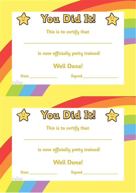 potty training certificate  printables classroom