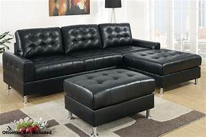 Poundex Randi F7302 Black Leather Sectional Sofa Steal A