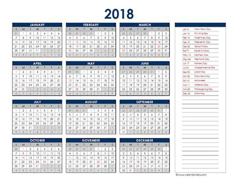 excel 2018 yearly calendar 2018 excel yearly calendar free printable templates