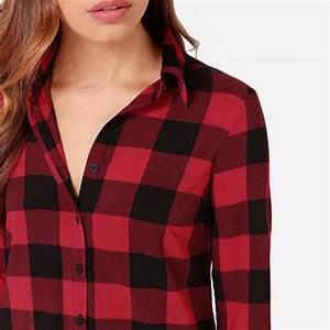 mode femme chemise a carreaux chemisier haut tops longue With chemise a carreaux longue