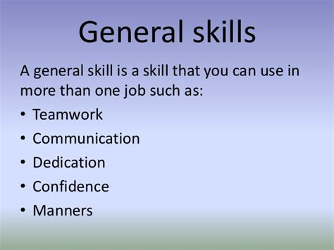 What Are General Skills To Put On A Resume by General Skills X