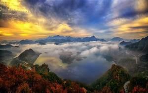 Nature, Landscape, Sunrise, Mountain, Lake, Sky, Clouds ...