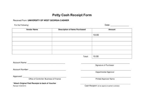 petty cash receipt samples templates