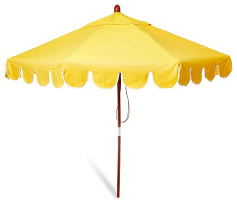 scallop edge patio umbrella yellow contemporary