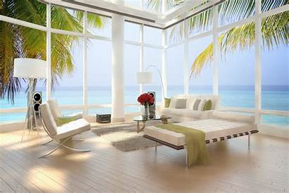 Luxury Apartment Loft Interior Sea Palm Chairs