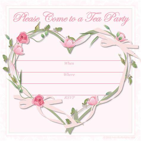 printable party invitations  printable pink tea