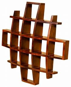 Contemporary wood display wall hanging shelves decor curio