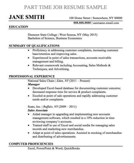 Part Time Resume by Resume Sles And Templates Chegg Careermatch