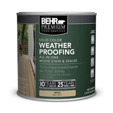 behr premium  oz white base solid color weatherproofing