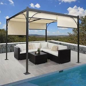 alu 3x3 m pavillon garten markise sonnenschutz terrassen With französischer balkon mit garten überdachung freistehend