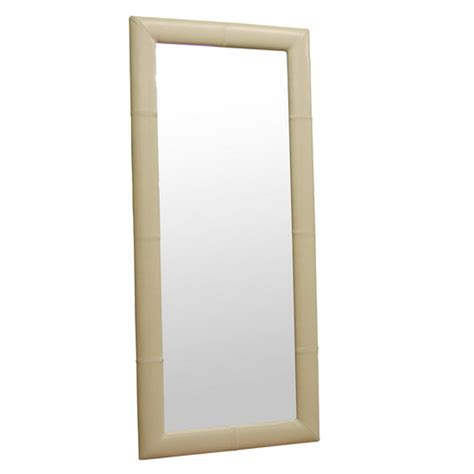 floor mirror leather wholesale interiors floor mirror with bycast leather frame cream a 61 1 j050 cream